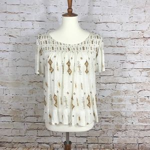 Lucky Brand Beaded Cream Tee